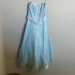 Blue Prom Dress with Matching Shawl and Crinoline